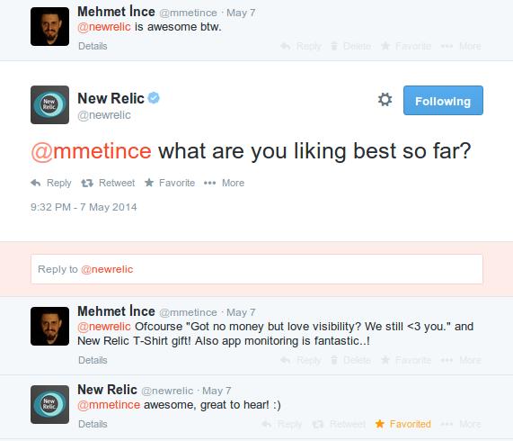 newrelic twitter response