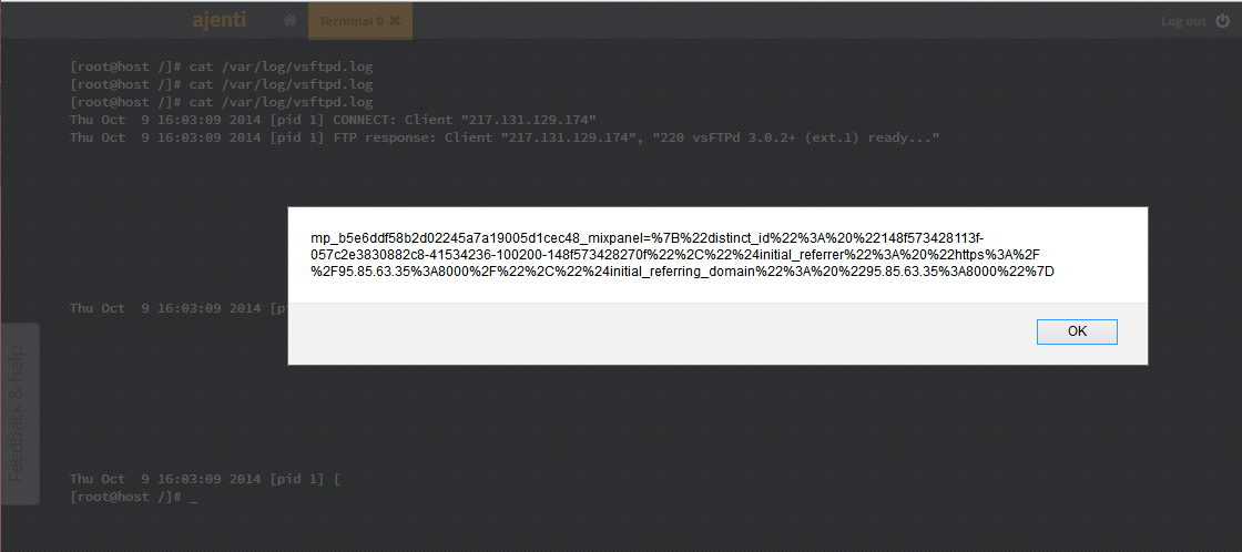 Ajenti Stored XSS Vulnerability Through Log Files – Mehmet INCE
